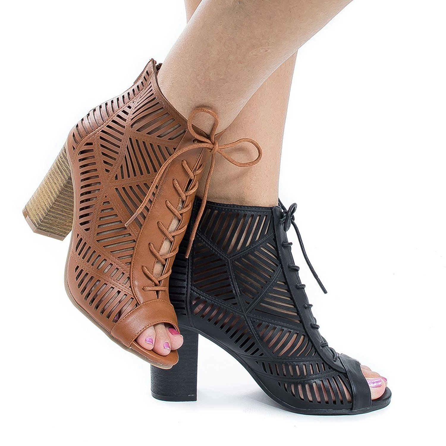 Peep Toe Lace Up Cut Out Stacked Heel Dress Sandals -- Check this awesome image  : Lace up sandals