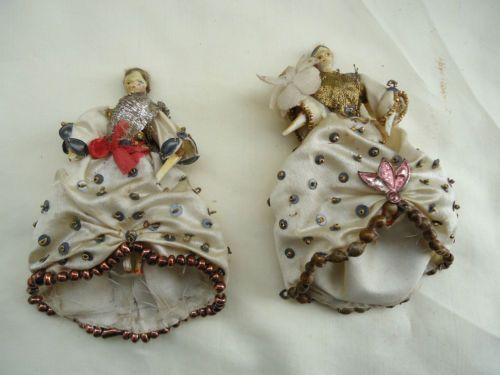 Antique Wooden Primitive Miniature Peg Dollhouse Dolls 2 EXC | eBay