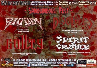 BLOODY: Atração no Sanguineous Fest neste fim de semana – O BLOODY levará seu Thrash Metal para Valinhos, interior de São Paulo. A banda participa do festival Sanguineous Fest. O evento acontece neste sábado, 28 de março, no Tribbus Bar. Completam o cast do festival as bandas: Disciples, Guilty e Spirit Crusher. Mais informações: https://www.facebook.com/events/1746211948938661/ Lembrando...