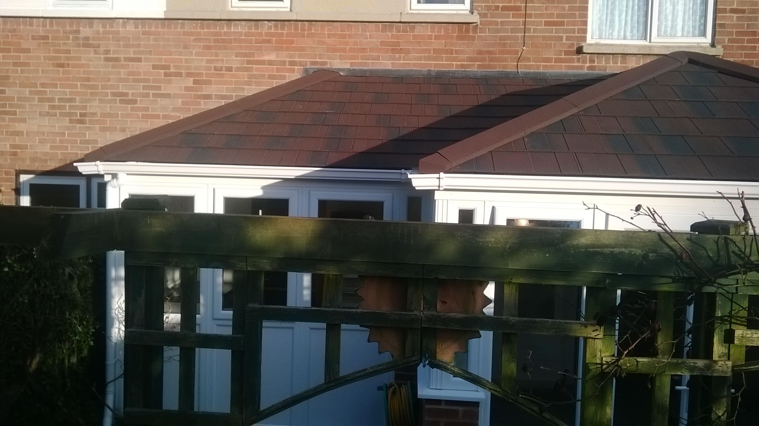P Shaped Edwardian In Burnt Umber Metro Tile Tiled Conservatory Roof Conservatory Roof Conservatory