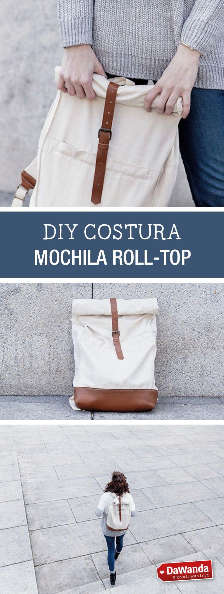 Tutoriales DIY: Cómo hacer una mochila de tela estilo Roll-Top vía ...
