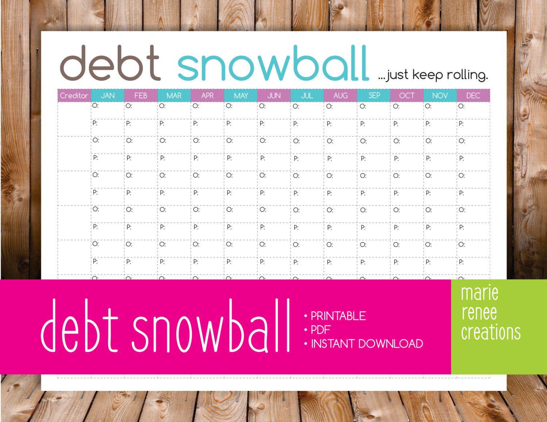 Debt Snowball Worksheet Budget Printable Debt Snowball Debt Snowball Worksheet Debt Snowball Printable