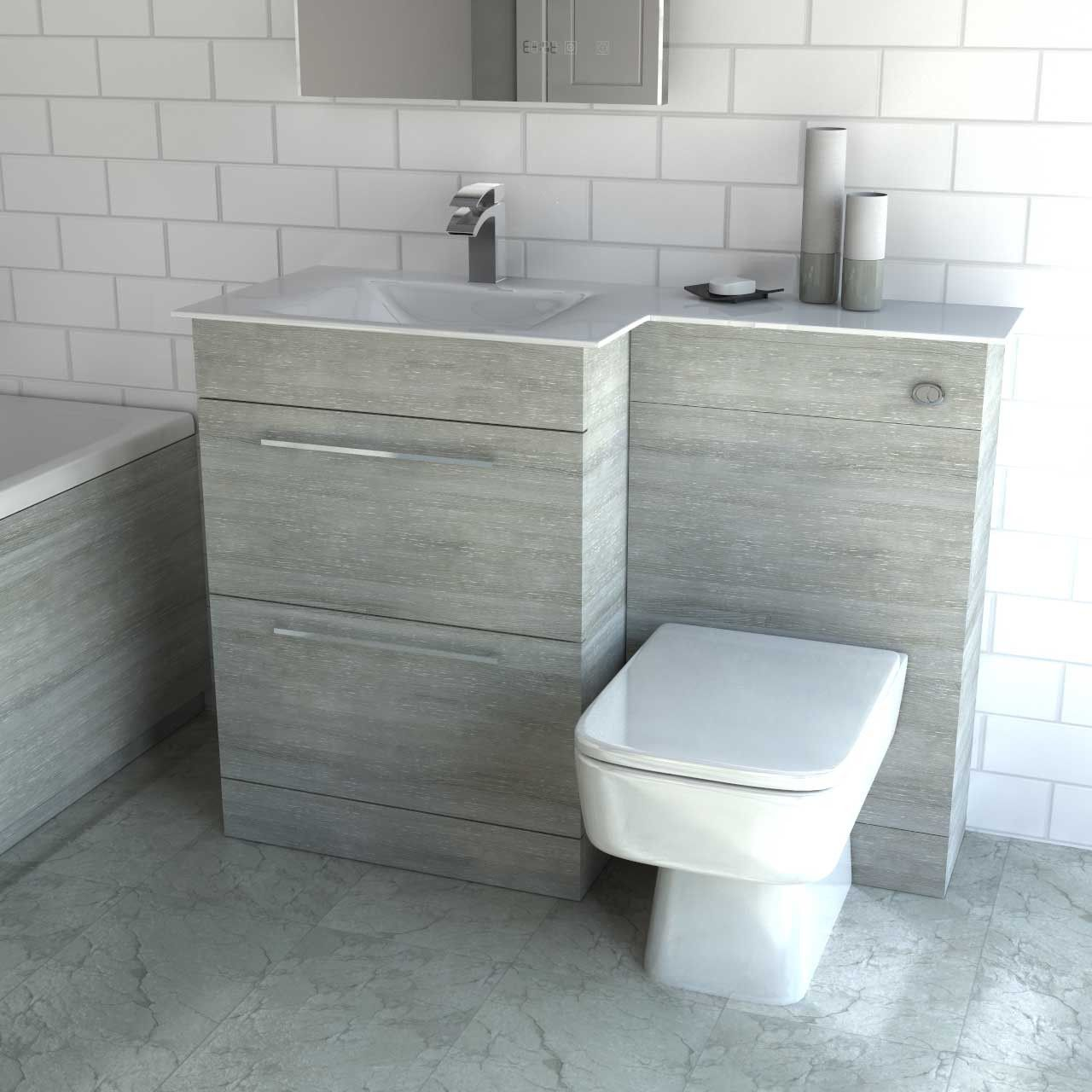Venice Square Left Hand White Glass 1100mm 2 Drawer Molina Ash Vanity Unit Toilet Suite Minimalist Bathroom Bathroom Interior Toilet Suites
