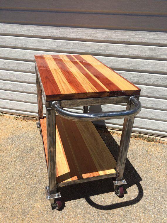 custom built butcher block bar cart or kitchen island metal bar cart bar cart wood kitchen on kitchen island ideas kitchen bar carts id=89834