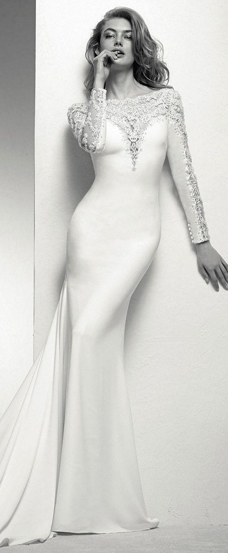 Delicate tulle u acetate satin bateau neckline mermaid wedding dress
