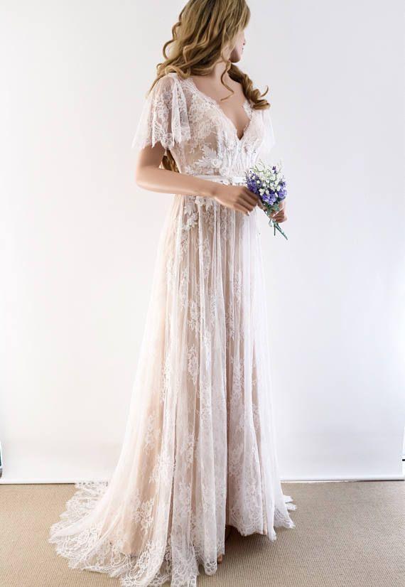 Encaje vestido de novia/vestido de novia único/Boho Vestido de novia con mangas/vestido de Novia de playa/vestido de espalda abierta