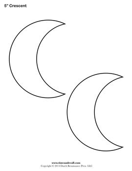 Printable Crescent Templates | Shape templates, Book of ...
