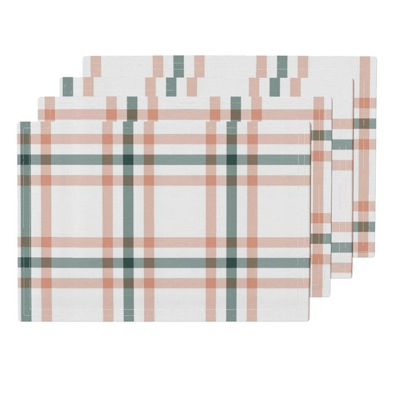 Plaid Placemats (Set of 4) - Sage & Coral Plaid by the_lemon_bee - Tartan Cloth Placemats by Spoonfl