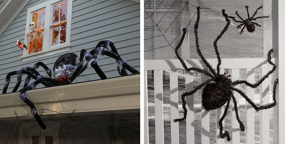 Giant Spiders Spider Webs Halloween Decorations With Images