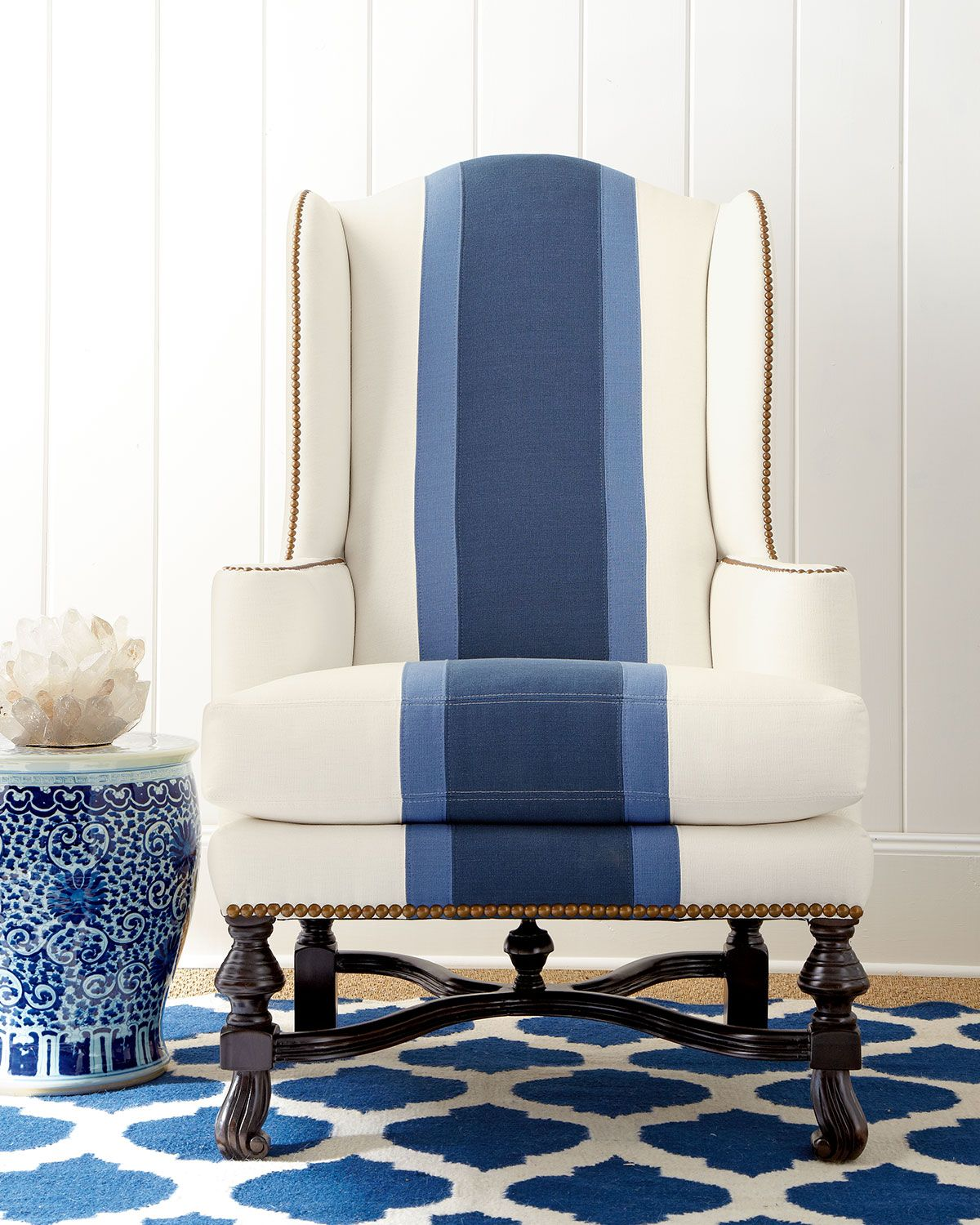alec wing chair folding mat blue colorblock upholstery pinterest