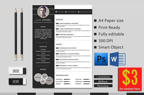 Resume By Creative Templates On Creativemarket  Design Stuff