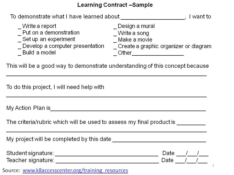 Learning Contracts ALSO Check out the link below I could not pin - Student Contract Templates