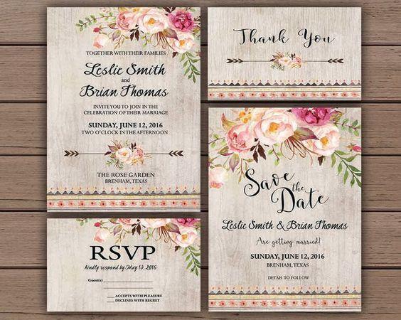 Floral wedding invitation printable boho chic wedding invitation suite bohemian wedding invite rustic wedding spring