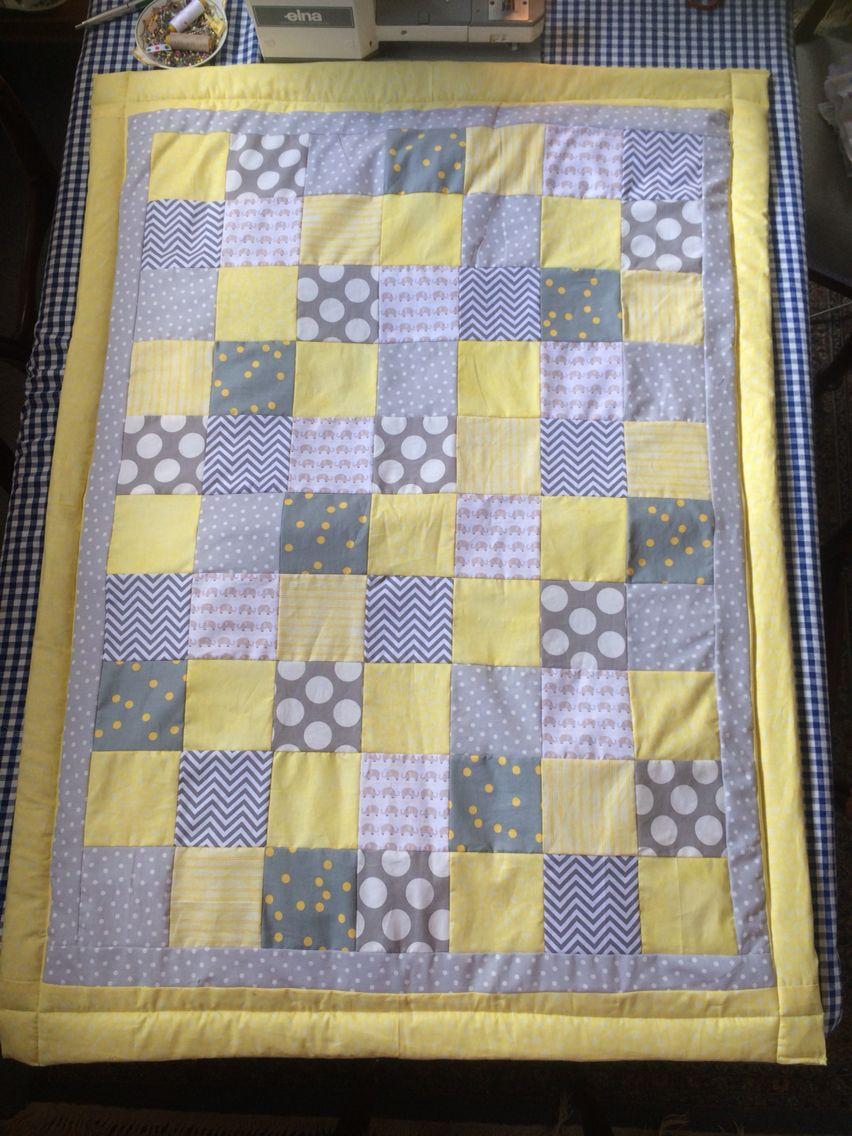 Grey Yellow White And Elephant Baby Nursery Quilt Nursery Quilt Baby Elephant Nursery Patchwork Baby Blanket
