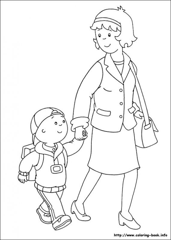 Caillou goes to school with mom coloring pages | FAMILIE | Pinterest ...