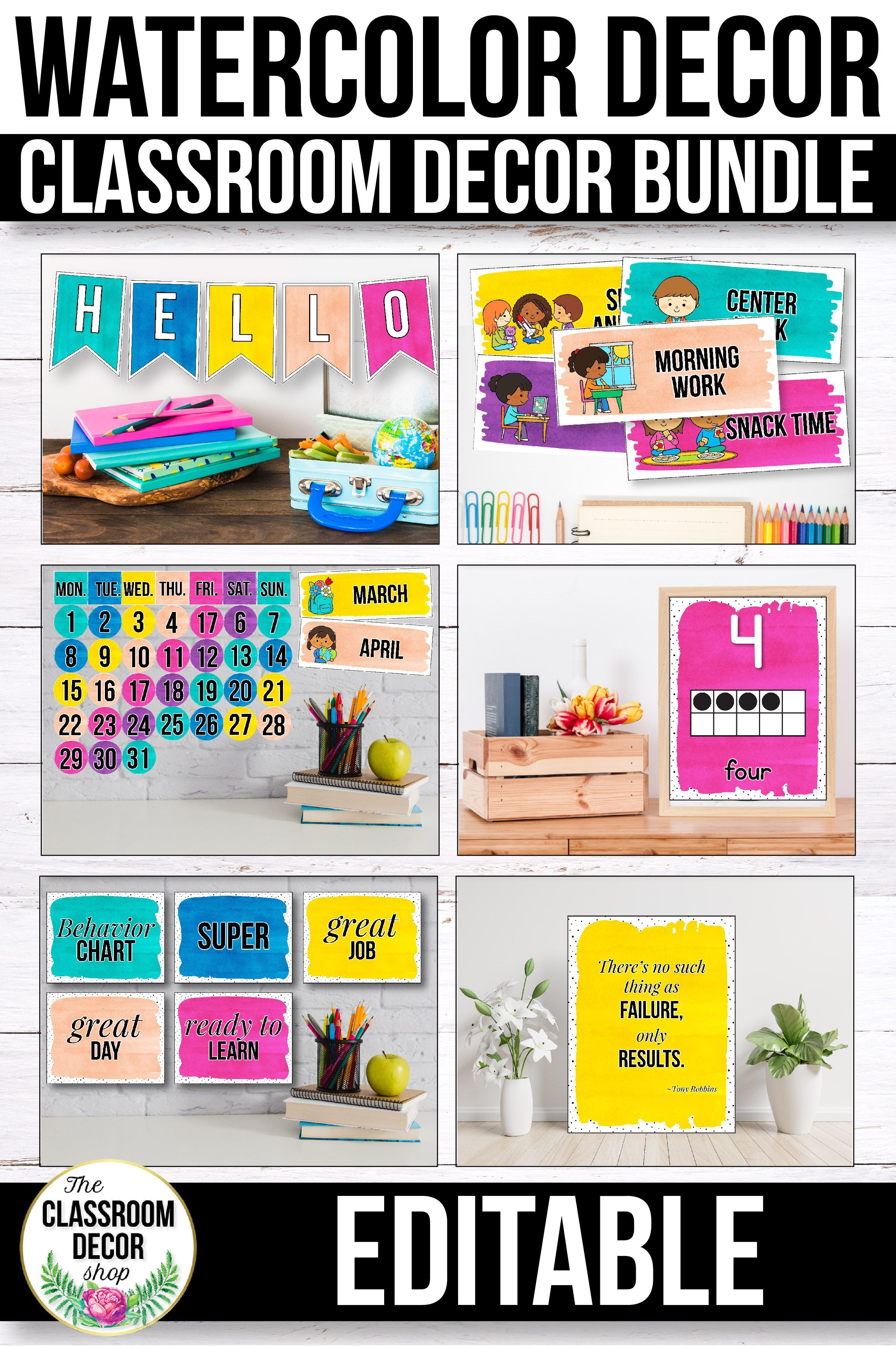 Watercolor Classroom Decor Bundle Decorations Themes This