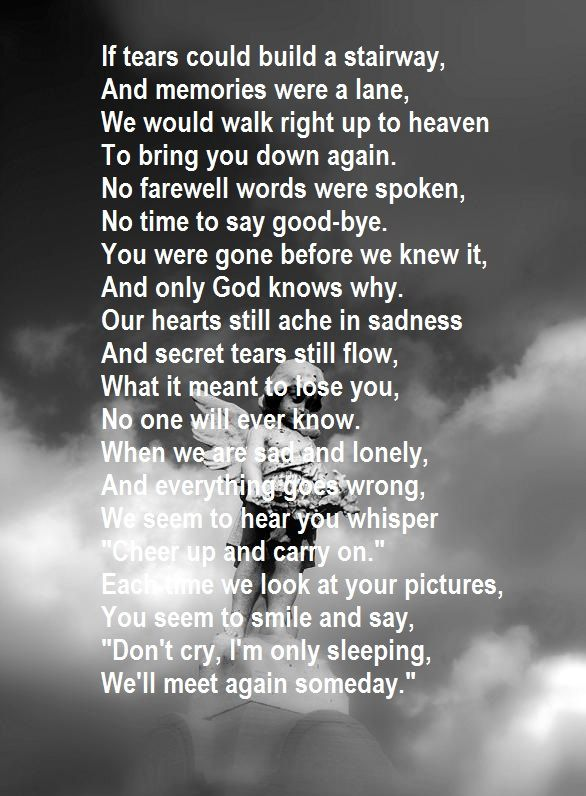 If tears could build a stairway | Quotes | Heaven poems