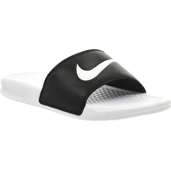 new concept a807e 244de NIKE Benassi swoosh slider sandals ( 25) ❤ liked on Polyvore featuring shoes,  sandals, nike, white black, black and white sandals, nike footwear, ...