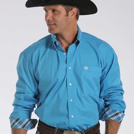 Cinch Men's Button Down Shirt Blue Print [MTW1104204] | Sleeve ...
