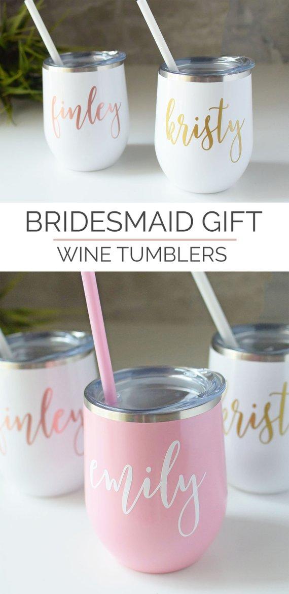 Bridesmaids Tumblers Wine Tumblers Bridesmaids Gifts Bridesmaids Favors Bridesmaids Wine Tumblers Mason jar Favors Wedding Gifts
