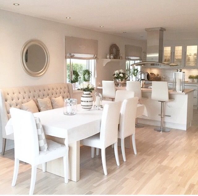 Love The Idea Of A High Backed Bench And Chairs Dinning Room