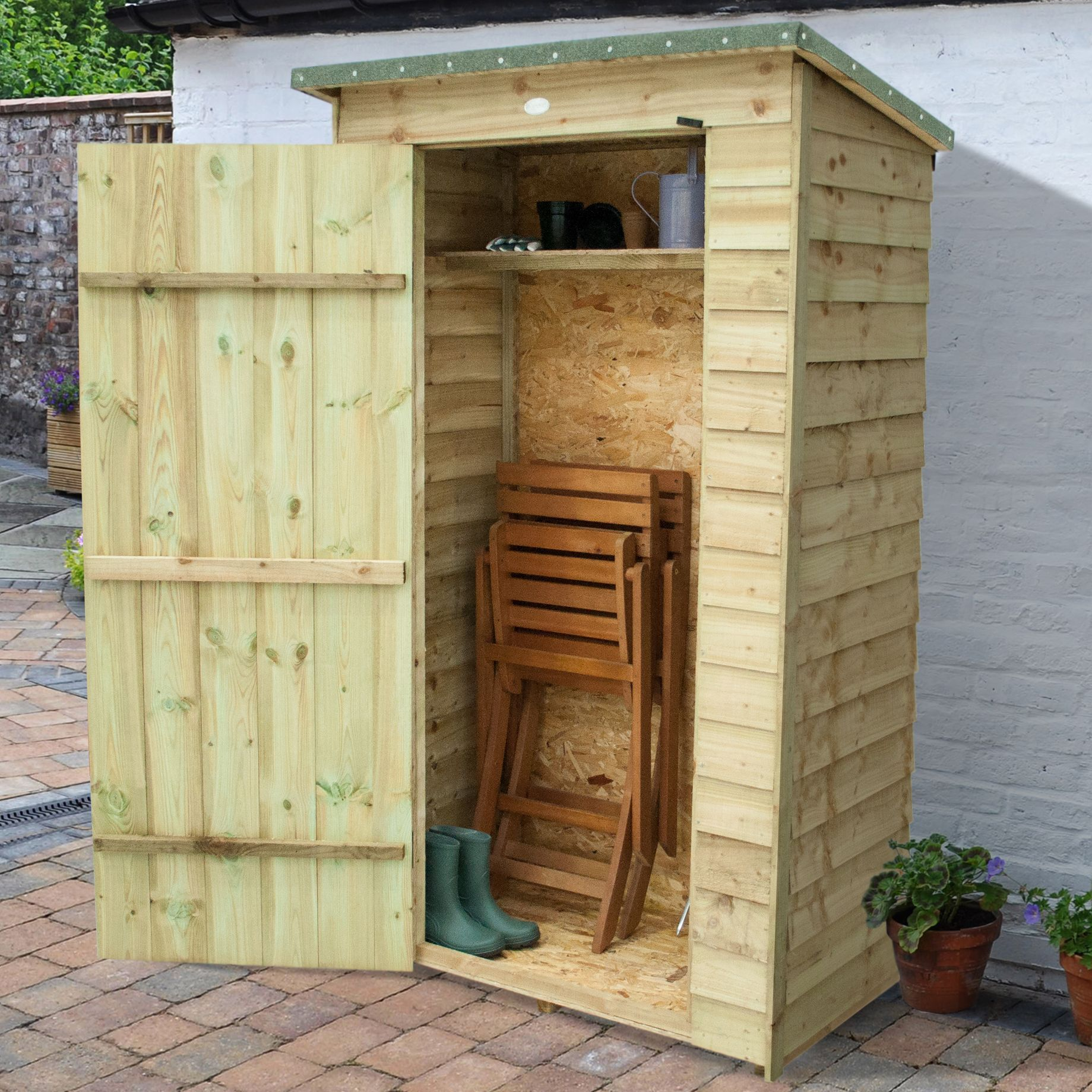 outdoor small storage overlap pressure treated pent wood pent tool store 37 - Garden Sheds 7 X 3