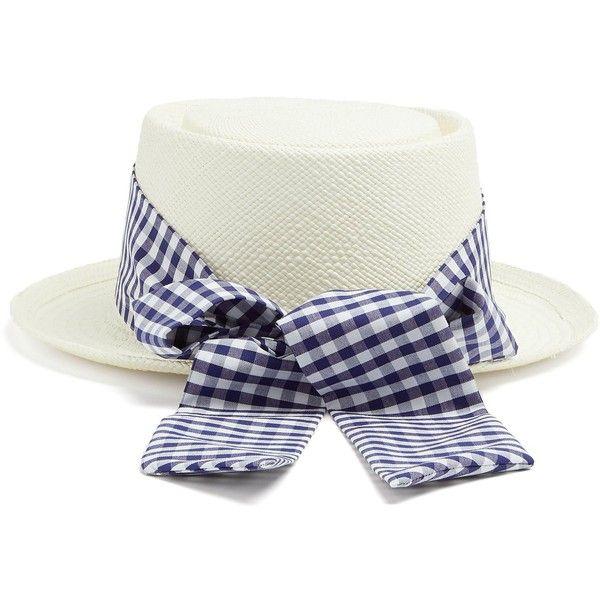 Gingham-ribbon bow-tie straw hat Federica Moretti 0YQ2R