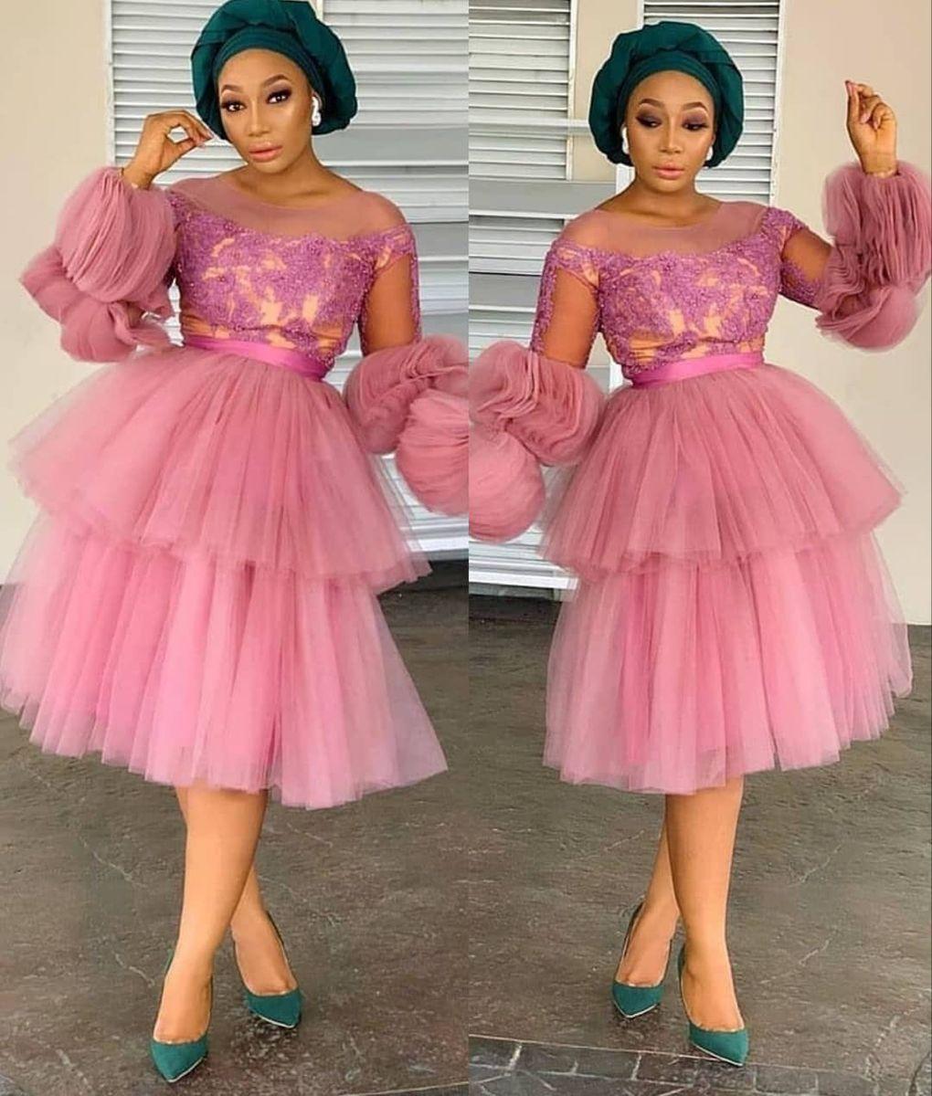 Ankara Midi Dress African Tulle Pink Dress African Tulle Ruffle Dress