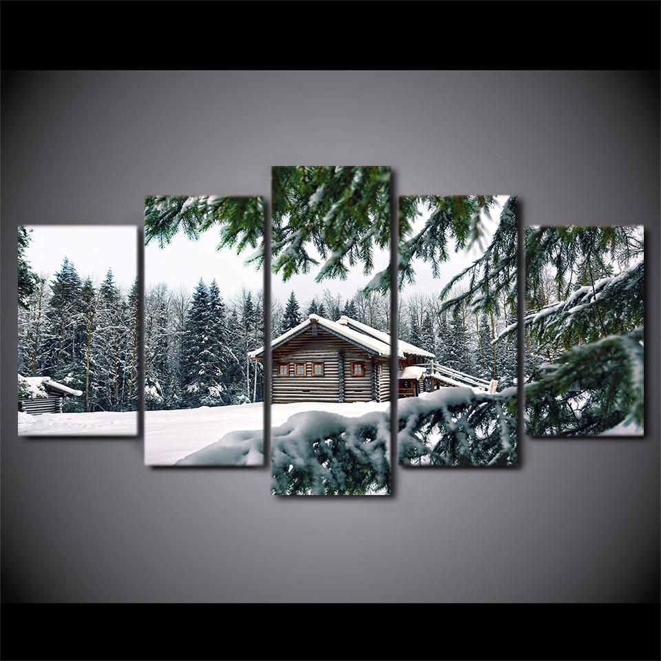 Printed Snow Tree Landscape Winter Wall Art Customized Canvas Art Canvas Art Wall Decor