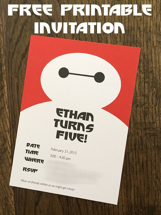 An Artsy Big Hero 6 Birthday Party and Free Invitation Download