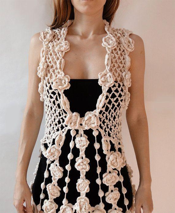 Vestido ganchillo vestido hippie marrón blanco negro por GlamCro ... 1751b339e979