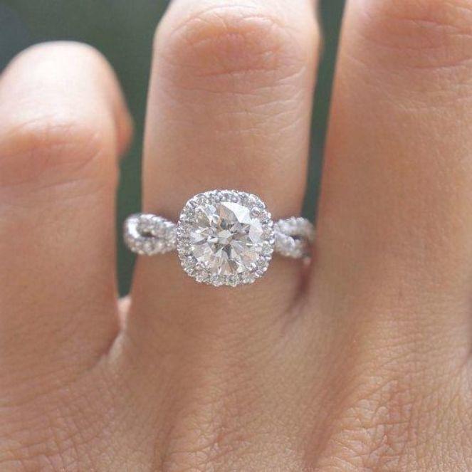 GIA Round Diamond Halo Engagement Ring Cushion Halo Diamond #weddingring #haloen #cushionengagementring