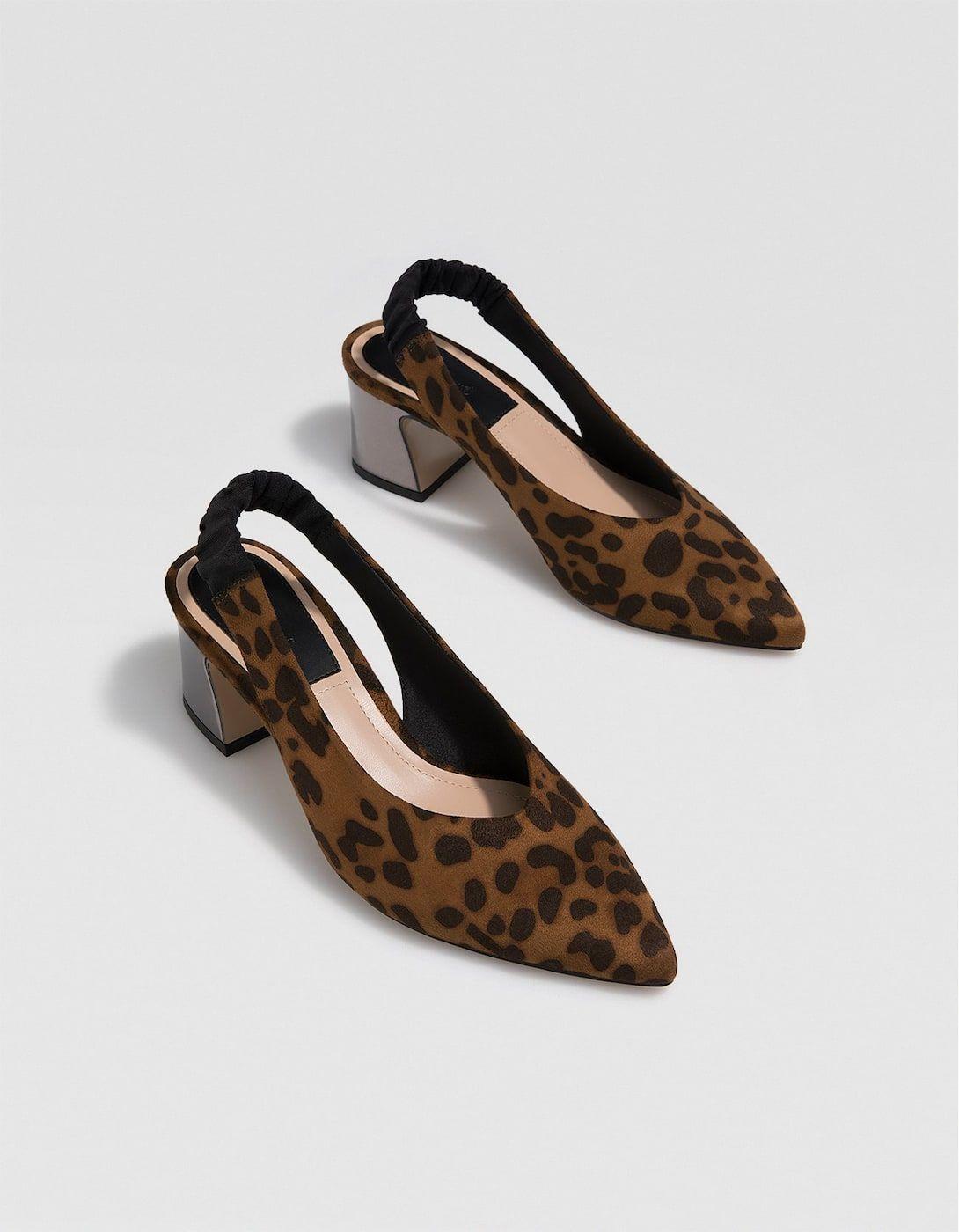483b91c6b747f Animal print slingback mid-heel court shoes - All | Stradivarius United  Kingdom