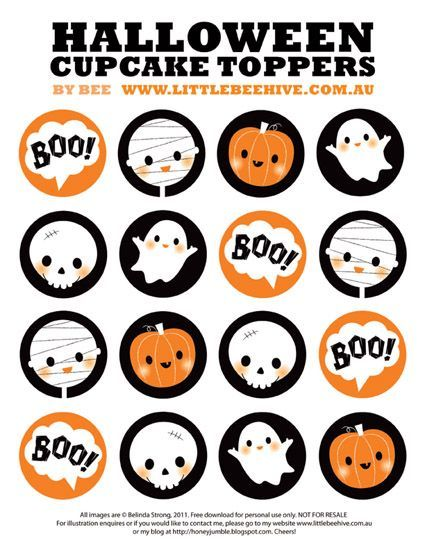 We Love to Illustrate: FREE printable Happy Halloween Cupcake Toppers  (really cute)