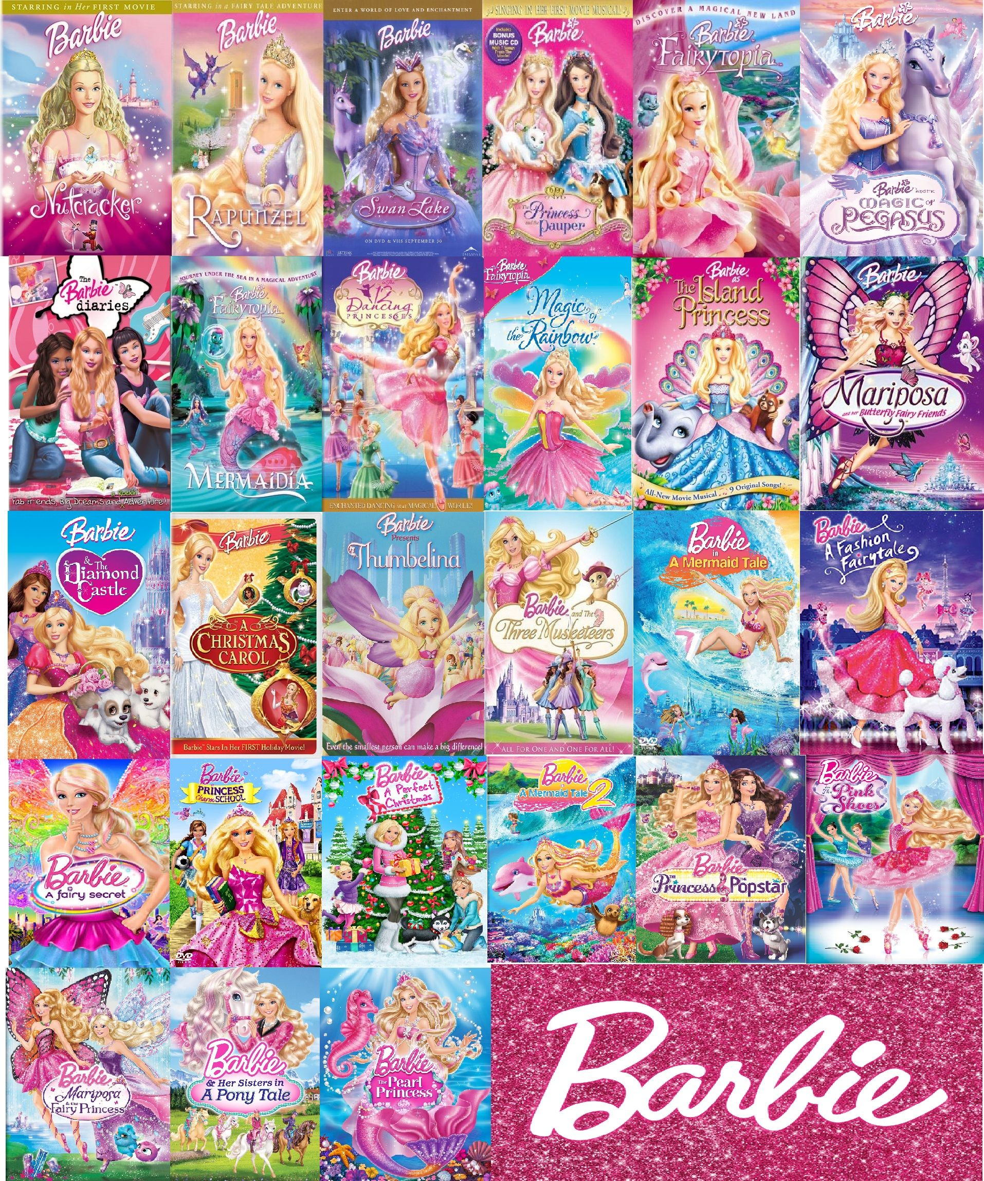 list of every single barbie movie ever made in order made. Black Bedroom Furniture Sets. Home Design Ideas