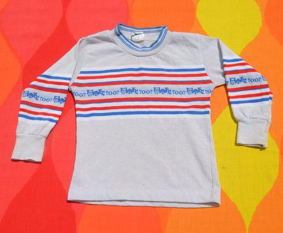 352b76d8f vintage 70s children's tee shirt TRAIN toot stripe long sleeve ...