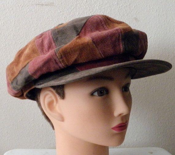 Vintage 60s 70s MOD Patchwork Suede Newsies Newsboy Ivy Cap Hat by GGMMVintage, etsy
