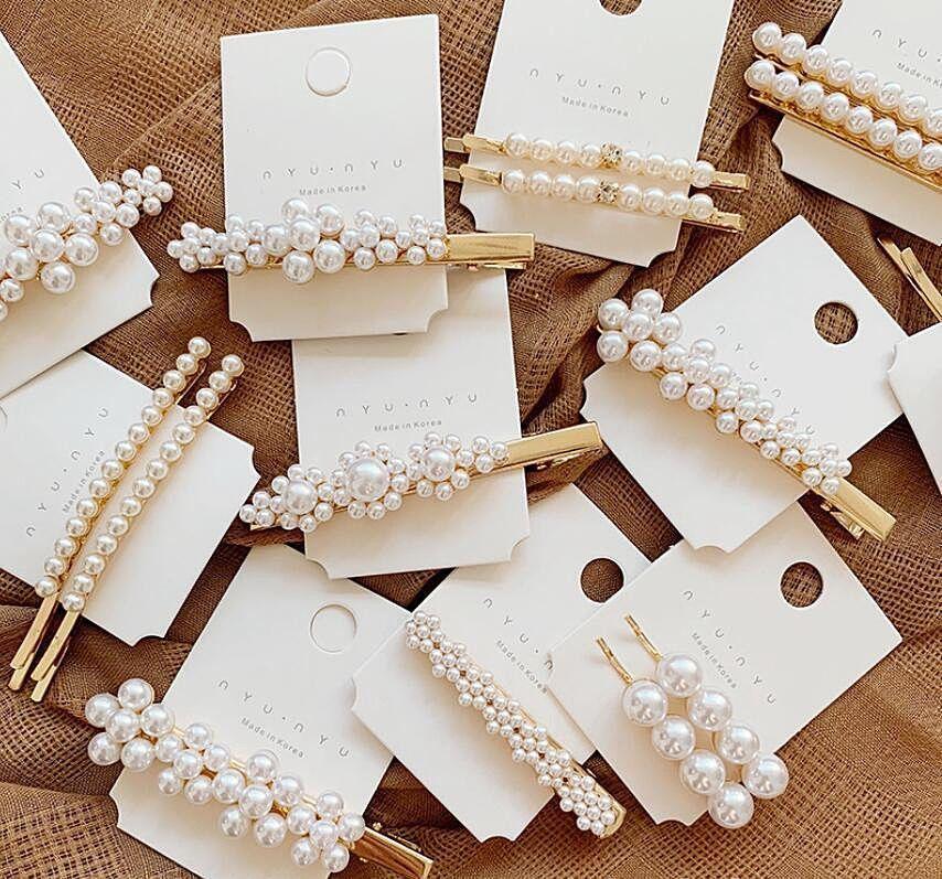 Fashion Women Crystal Pearl Comb Bobby Stick Pin Barrette Clip Hair Accessories