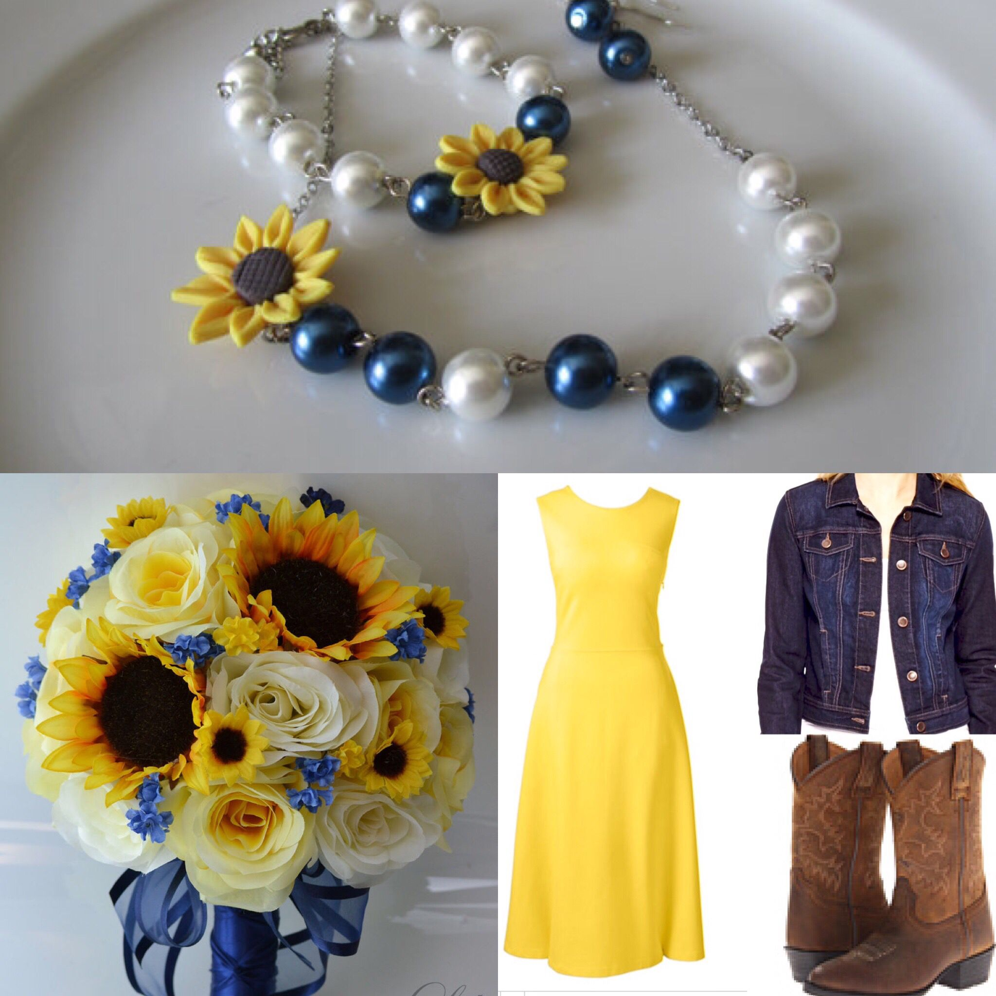 Denim and sunflower bridesmaids outfit sunflower
