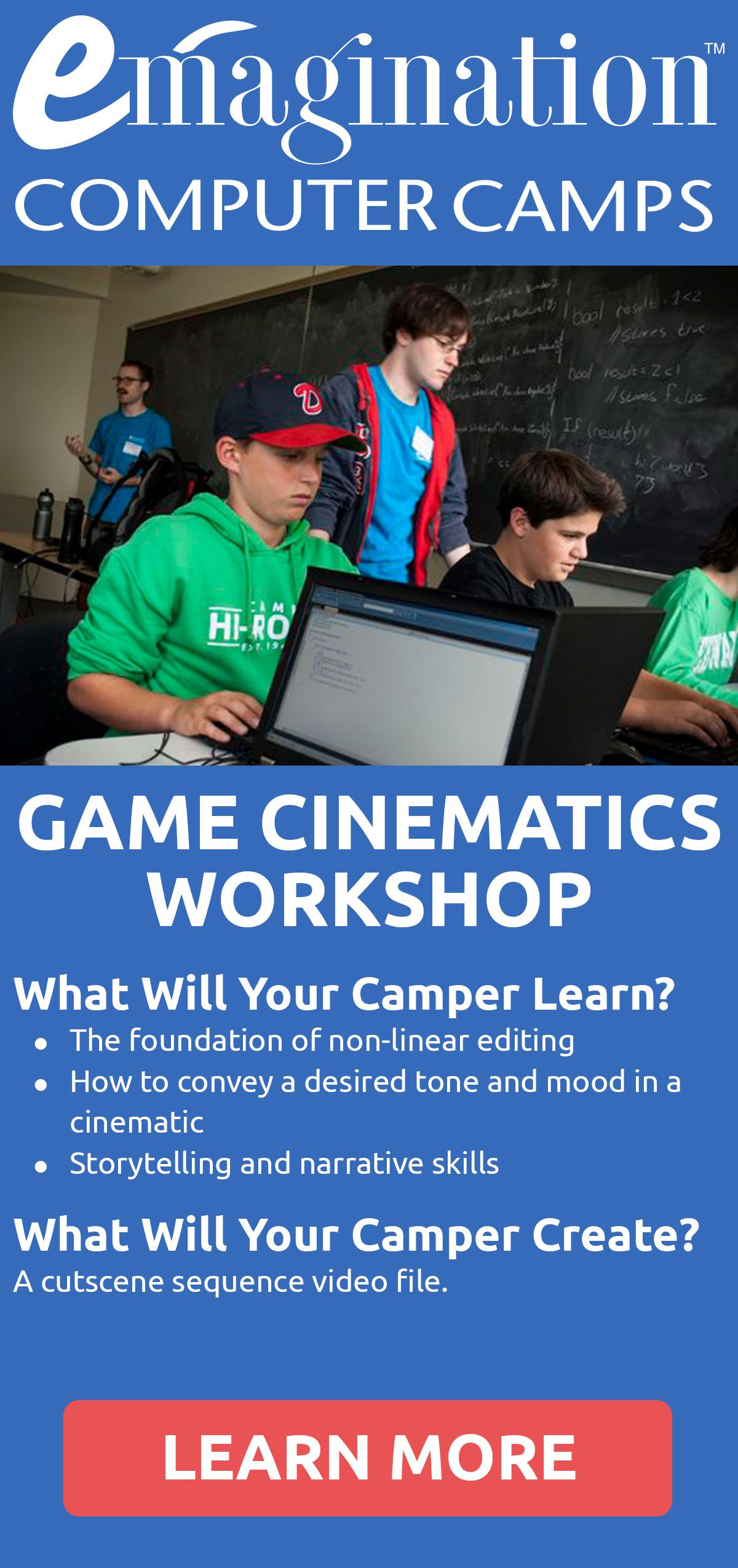 Cutscenes are short video clips that help develop the storyline in a video game. Campers use Unreal Sequencer, stock assets, and environments to create cutscenes that evolve games from fun and unique to emotionally compelling.