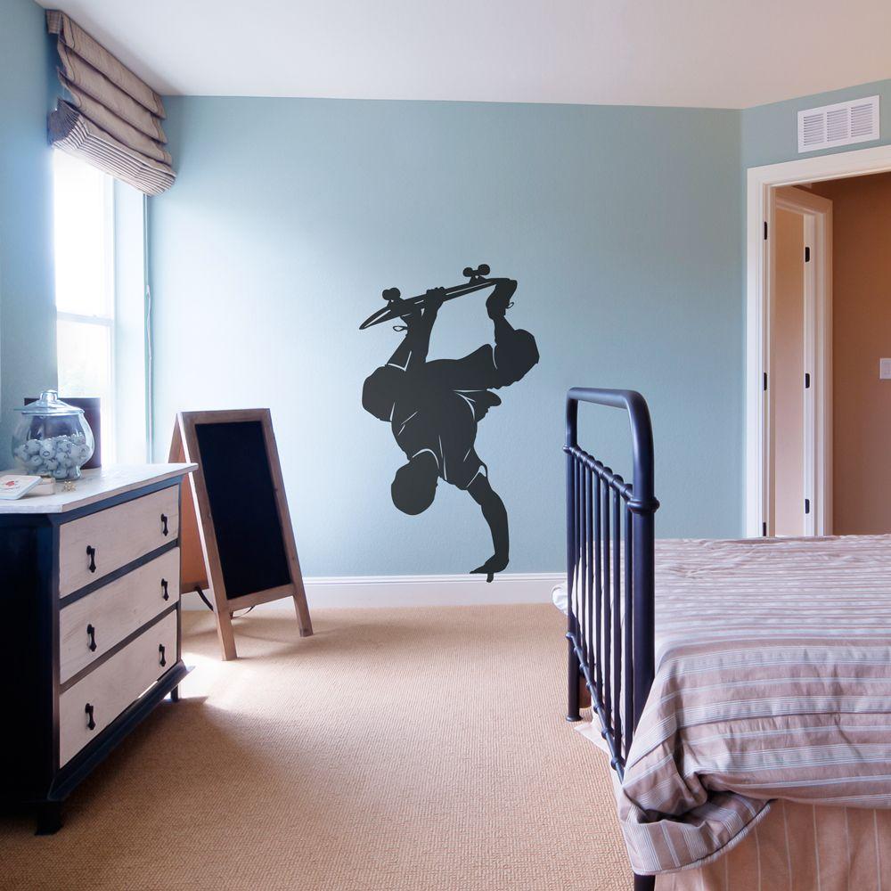 Skateboarder handplant wall art decal kids room pinterest