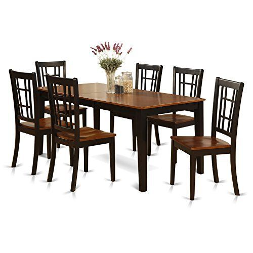 East West Furniture NICO7-BLK-W 7-Piece Formal Dining Table Set