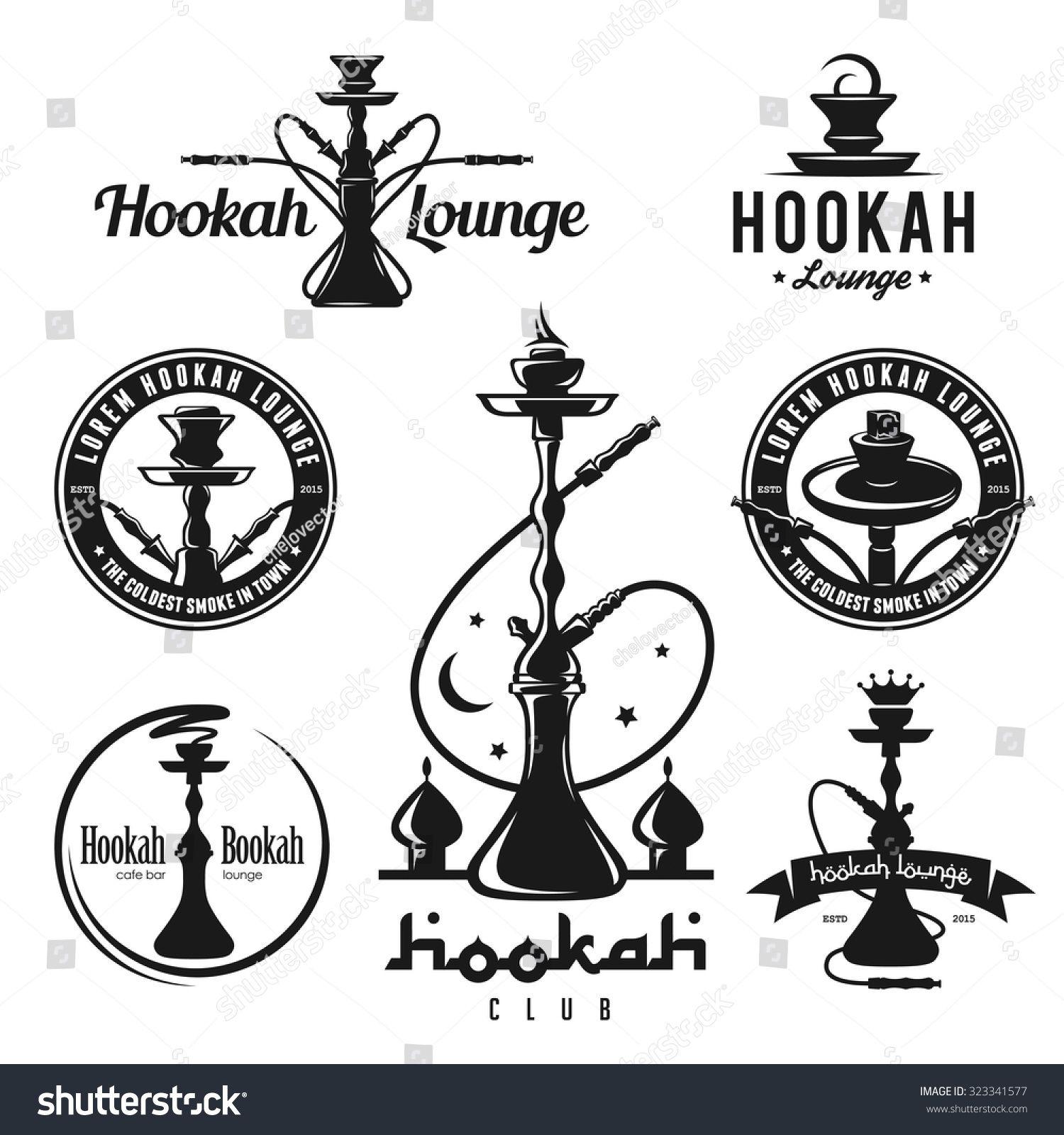 Set Of Hookah Labels Badges And Design Elements Vintage Logo