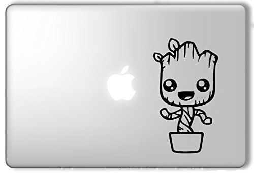 Cute groot in a pot guardians of the galaxy marvel superhero apple macbook laptop vinyl sticker decal decalology designs