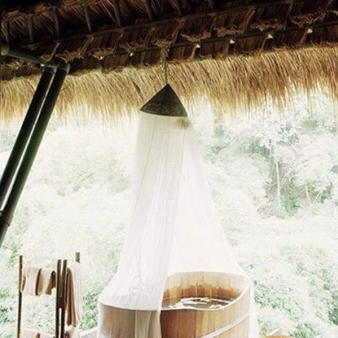 Some Thoughts Before Having Outdoor Bathrooms : Rustic Outdoor Bathroom  Designs With Wooden Bathtub White Curtain And Wooden Ceiling Also Brown  Towel Hanger ...