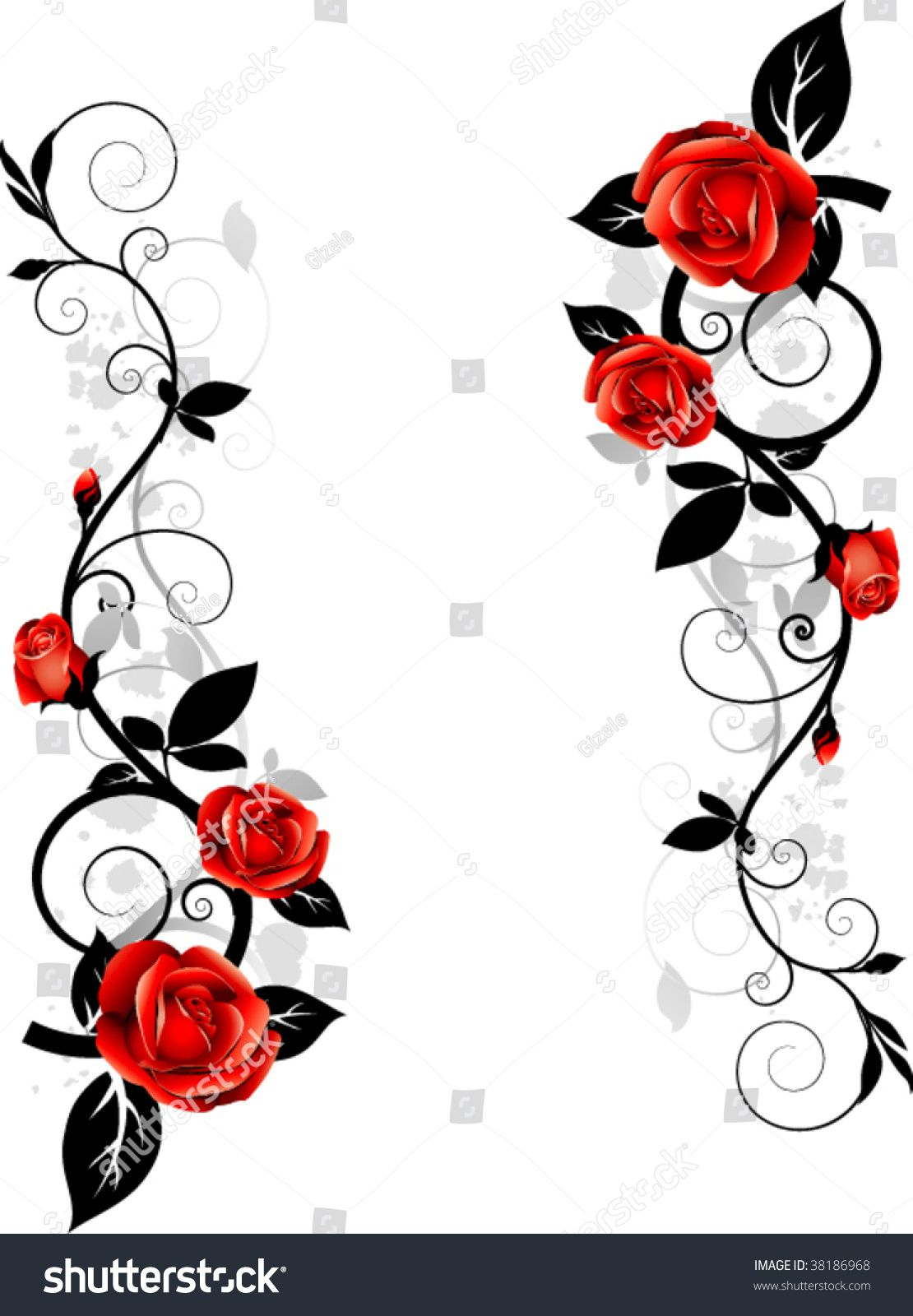 Vector floral design. Ornament with roses | Rose vine ...
