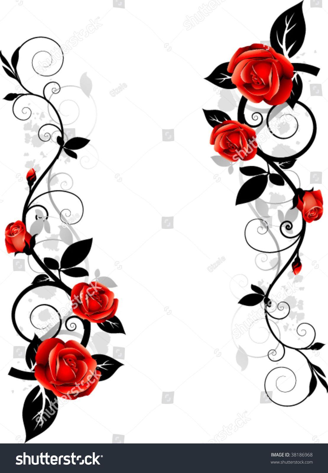 Vector floral design. Ornament with roses Rose vine