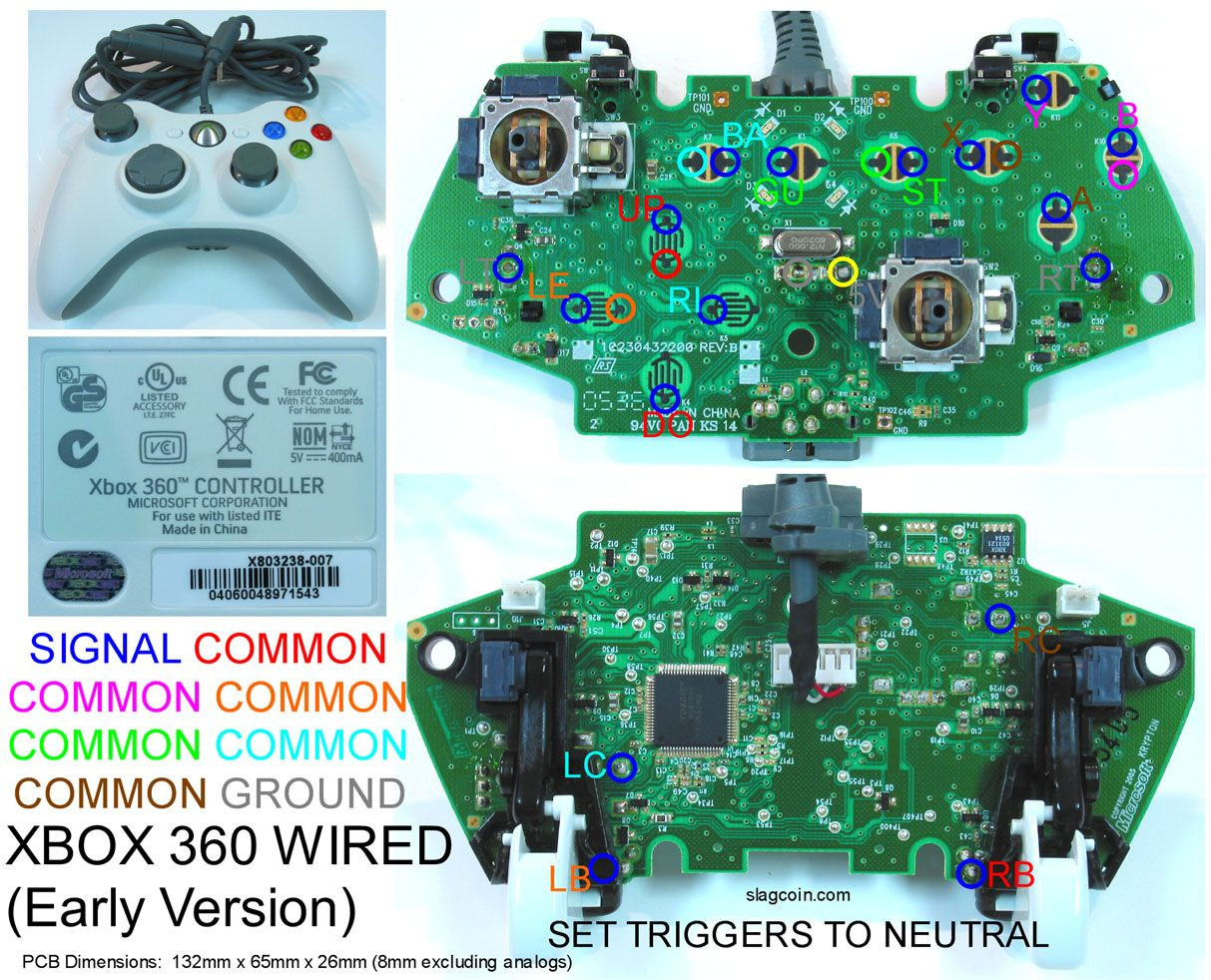 Gaming Gadgets And Mods Xbox 360 And Original Xbox Controller Pcb Diagrams For Mods Or Making Your Own Joystick Xbox Xbox 360 Xbox Controller