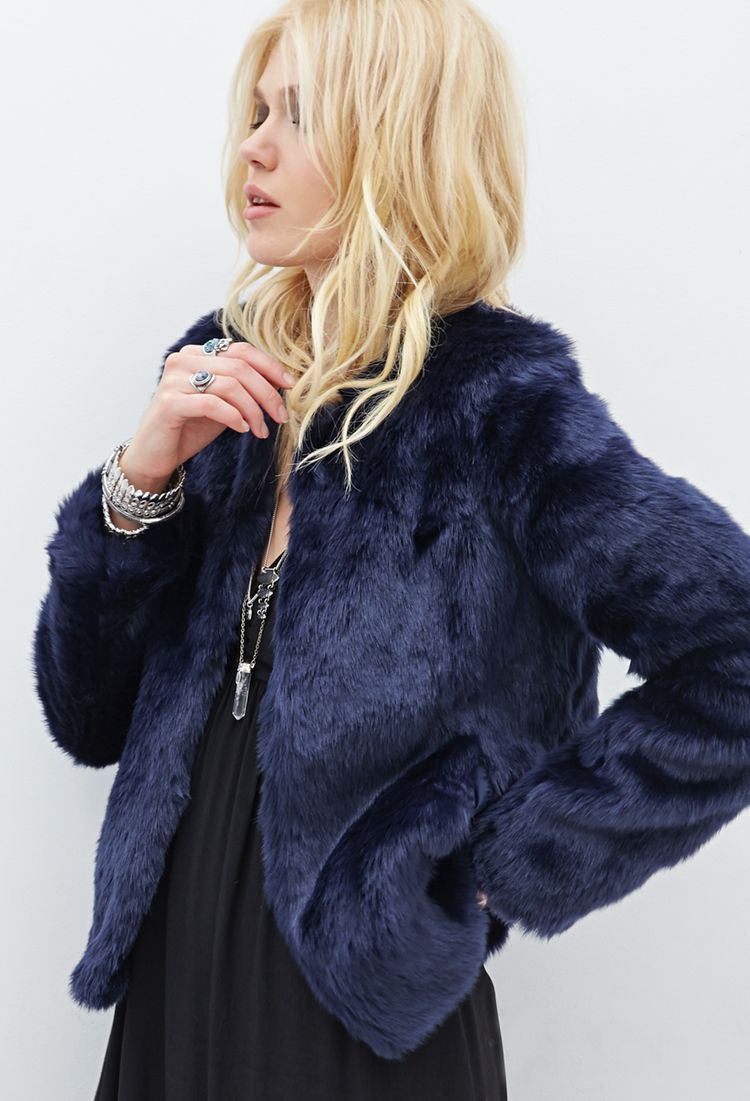 Collarless Faux Fur Jacket - Navy | Girly Stuff - Clothes, Shoes ...
