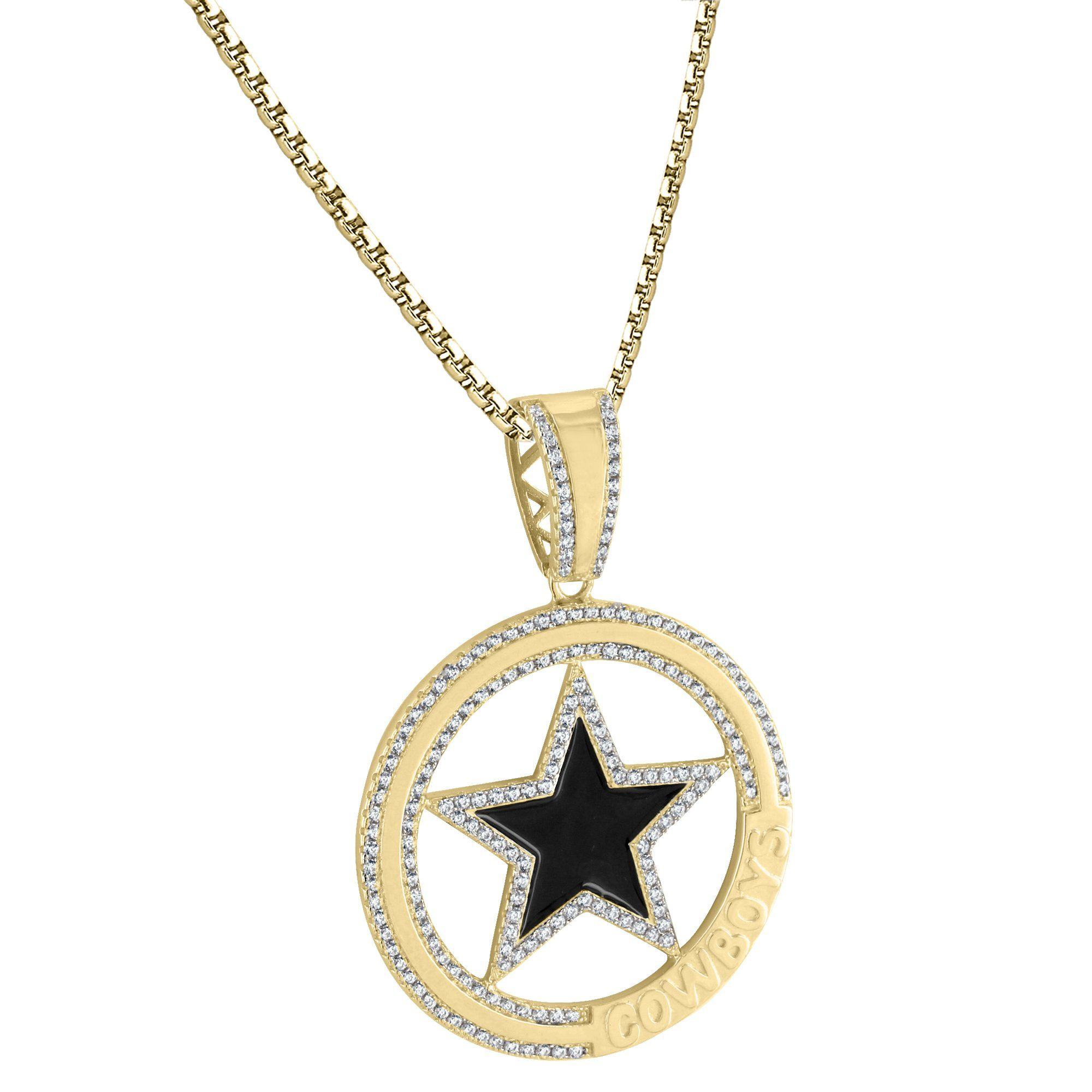 Nfl dallas cowboy iced out logo star sterling silver pendant nfl 14k gold finish nfl dallas cowboy iced out logo star pendant 925 free box chain aloadofball Gallery